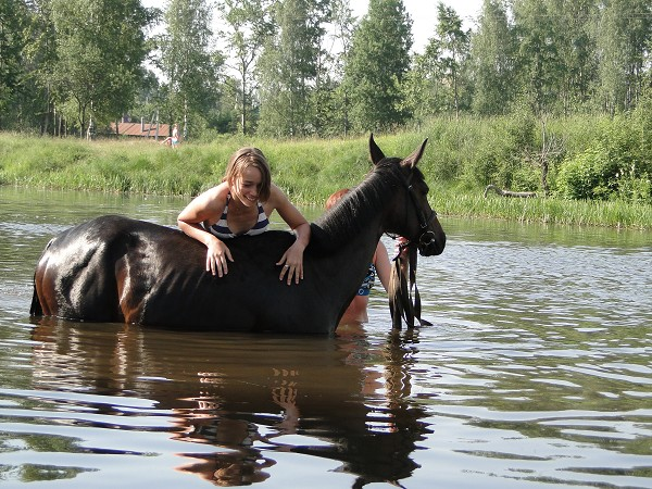 Лошади - Купание. Яна с Волной