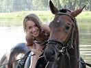 Лошади - Купание. Яна на Паше