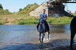 Верховая езда / Конный спорт - Купание. Оля на Нике