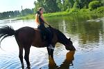 Верховая езда / Конный спорт - На реке. Алиса и Хохма